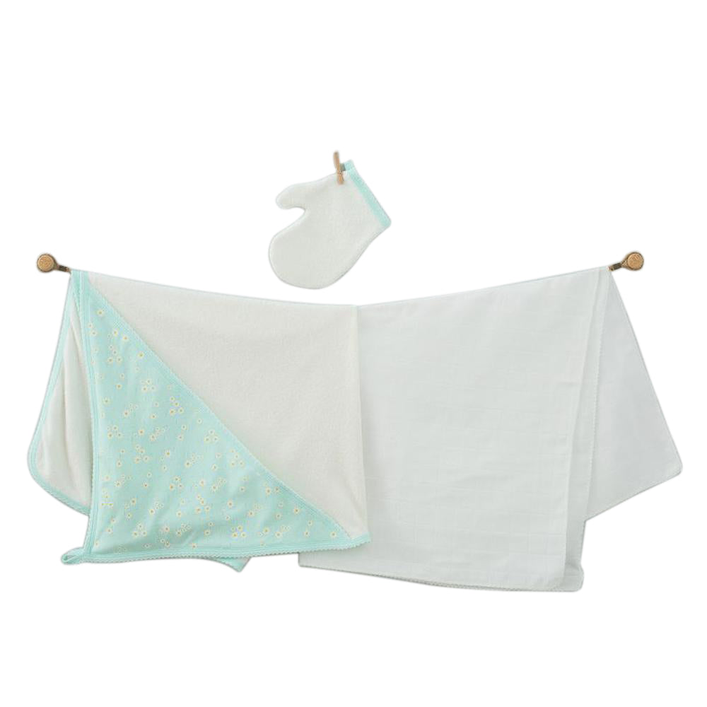 Andywawa 3 Pieces Set Towel Muslin Set Daisy - Mint