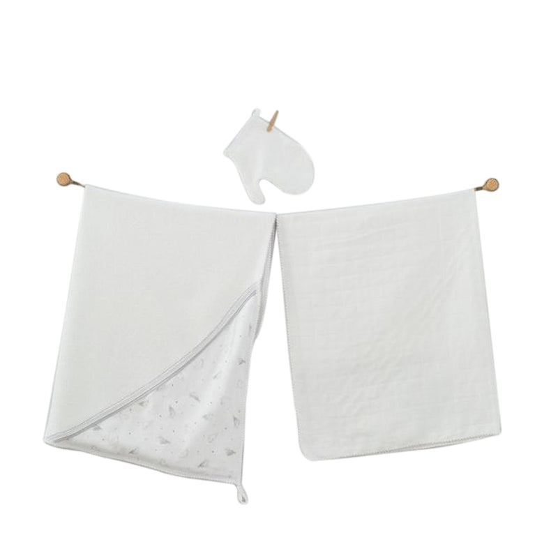 Andywawa 3 Pieces Set Towel Muslin Set Monk Seal - White