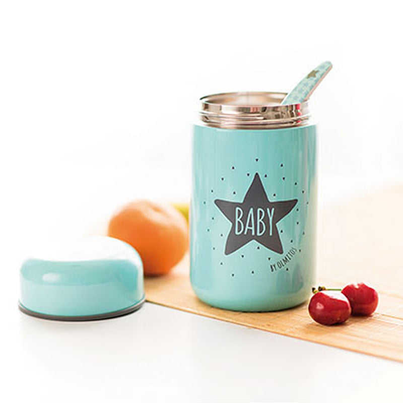 Olmitos Baby Food Container + Spoon Light Blue