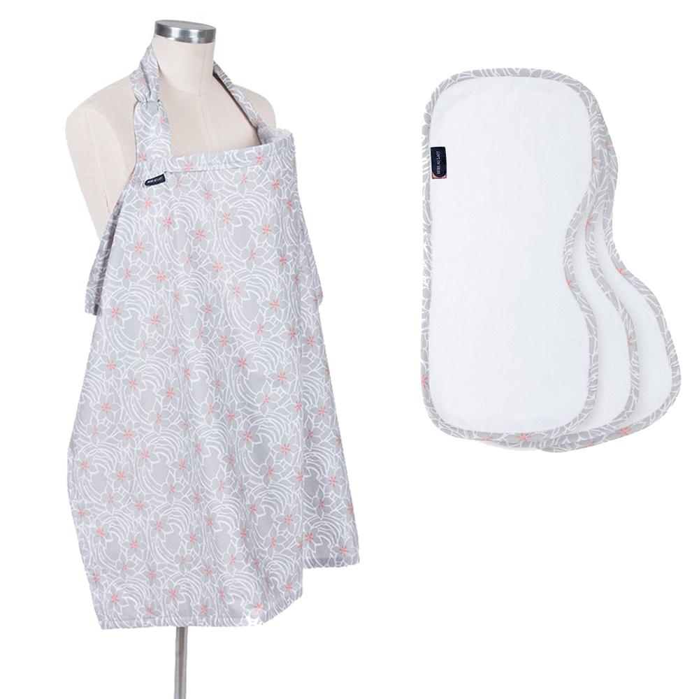 Bebe Au Lait Nursing Set Monet - Nursing Cover and Matching 3 Burp Cloths