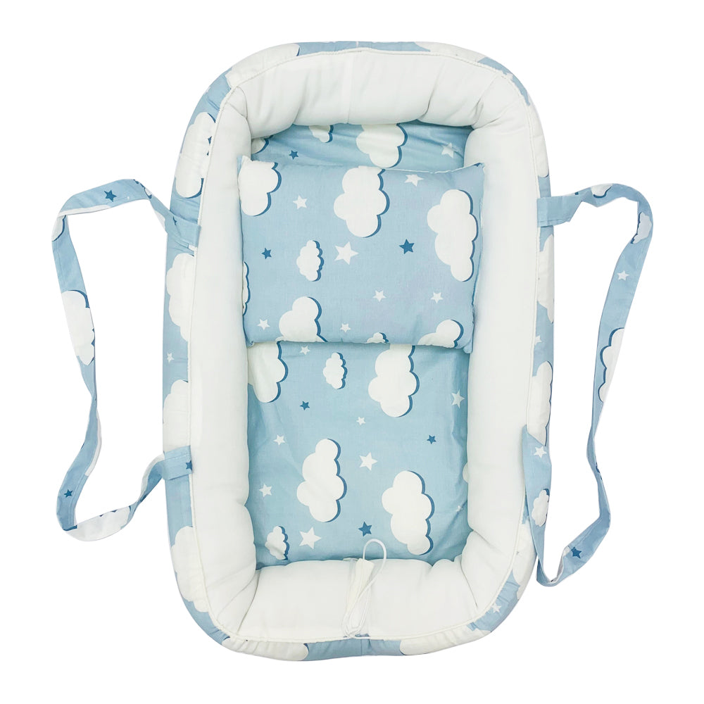 Baby Nest Portable Cocoon Lounger, Blue Clouds
