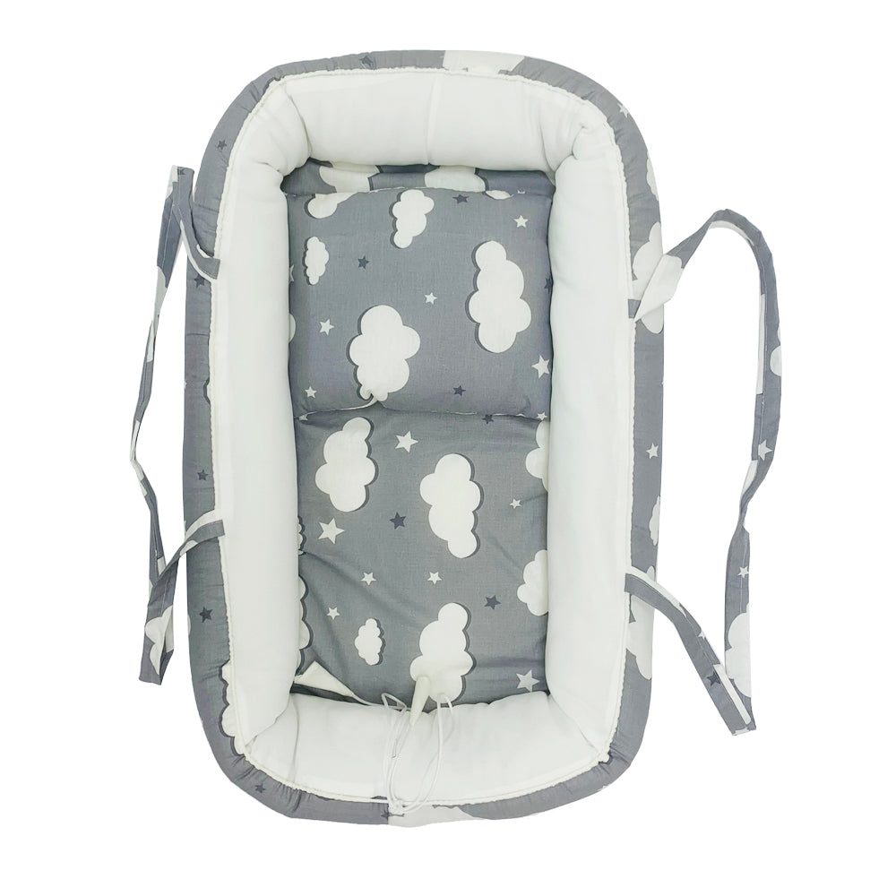 Baby Nest Portable Cocoon Lounger, Grey Clouds