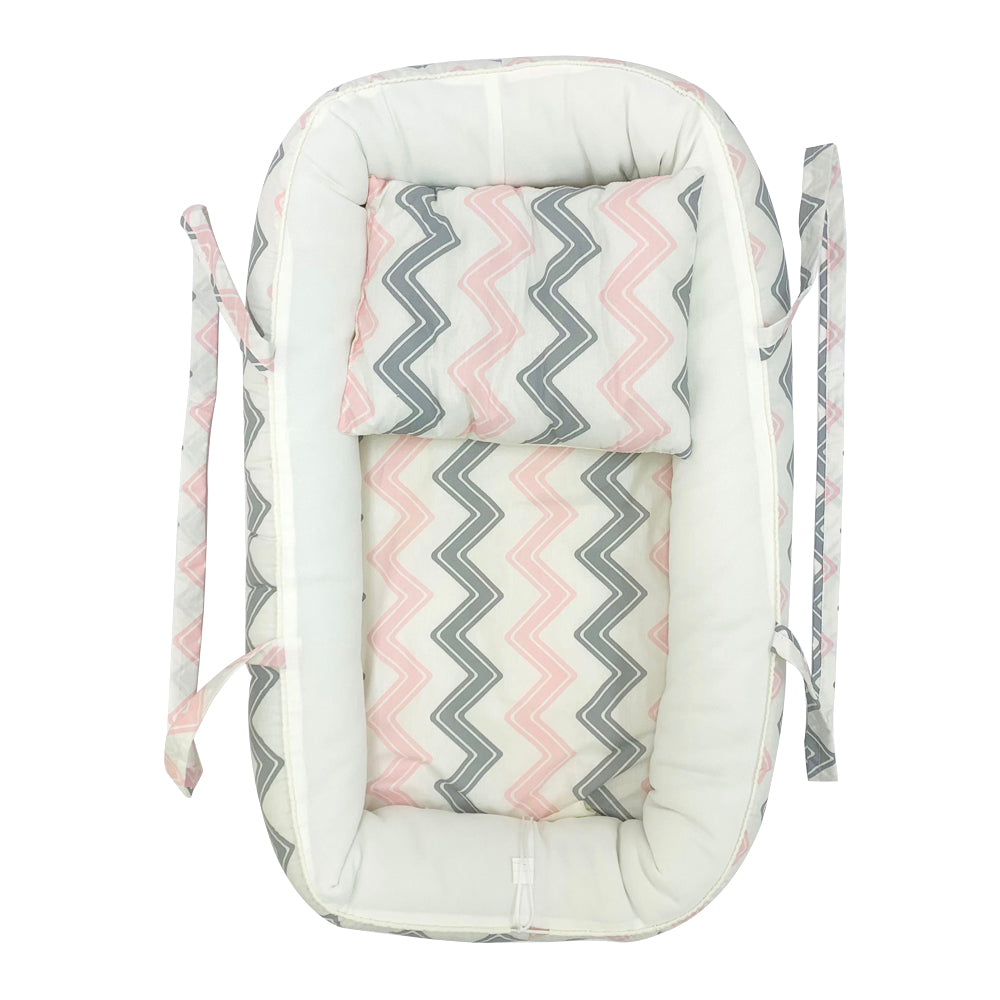 Baby Nest Portable Cocoon Lounger, Pink Zigzag