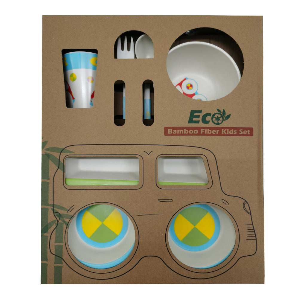 Bamboo Fiber Tableware 5 Pieces Set - Green