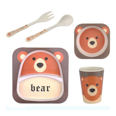 Bamboo Fiber Tableware Set - Bear