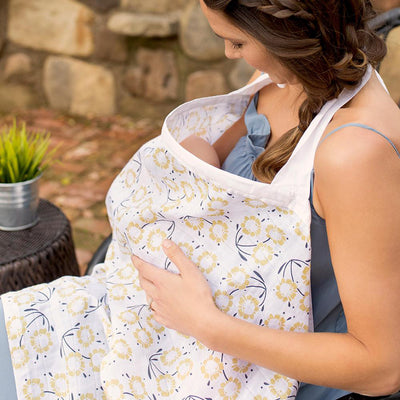 Bebe Au Lait Sorrento Muslin - Nursing Cover and 2 Matching Burp Cloth