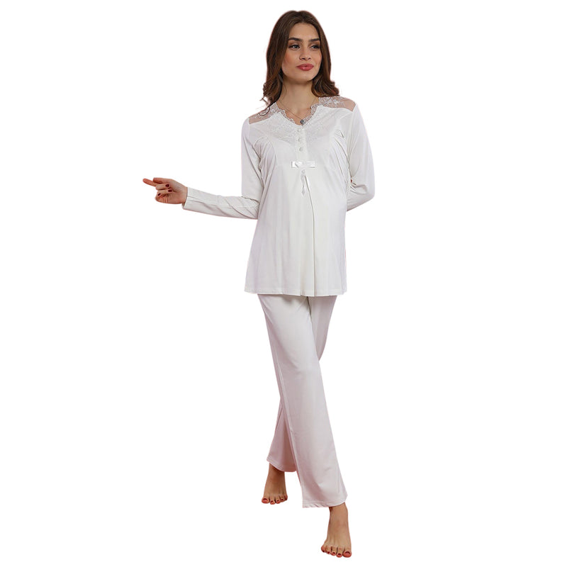 Bone Maternity Pyjama Set 4413 - White