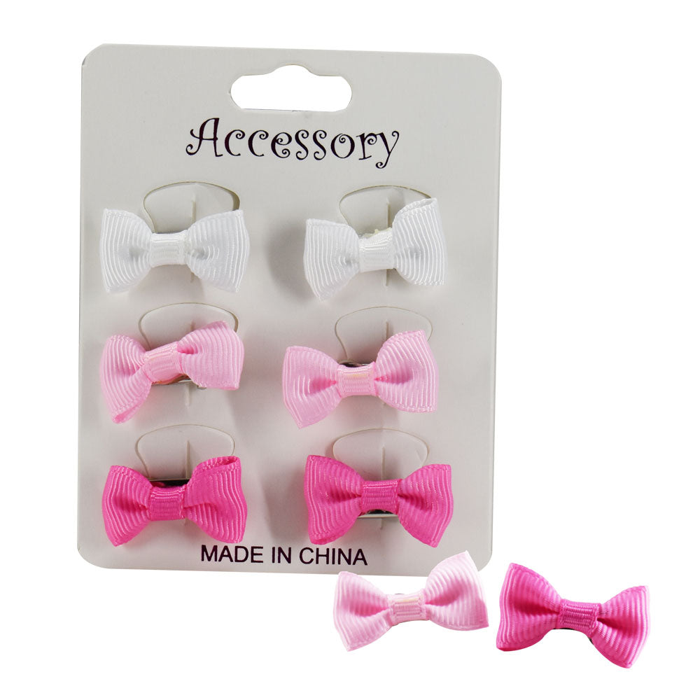 Bowknot Hair Clip Assorted Colors - 6 pieces