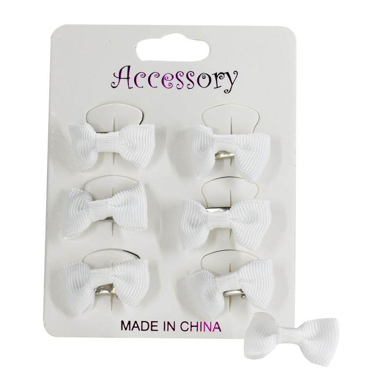 Bowknot Hair Clip White - 6 pieces