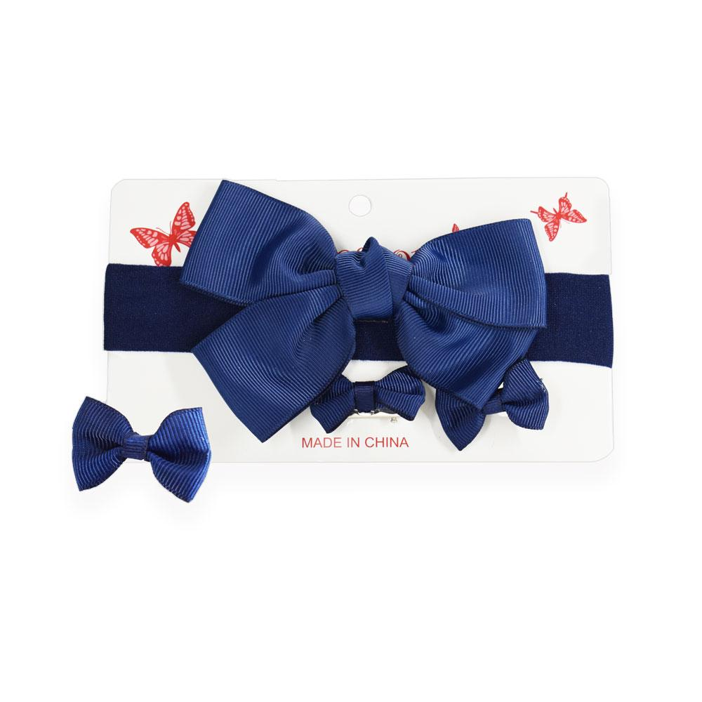 Bowknot headband and two bow hair clips, Navy Blue