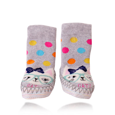 Bross Socks Non-Slip Shoes Polka Cat, 1 Pair