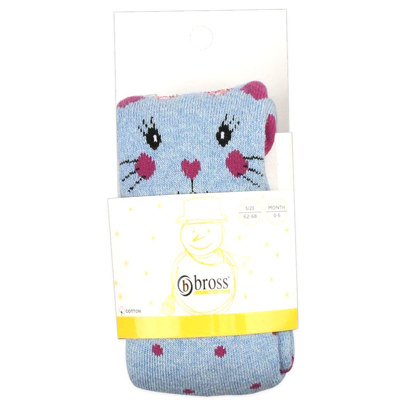 Bross Baby Socks Adorable Cat blue Tights, 1 Pair