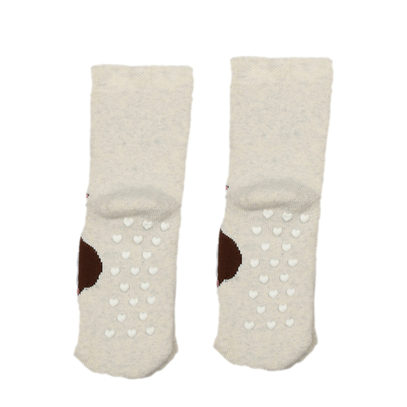 Bross Baby Socks Beige Non-Slip Little Princess, 1 Pair