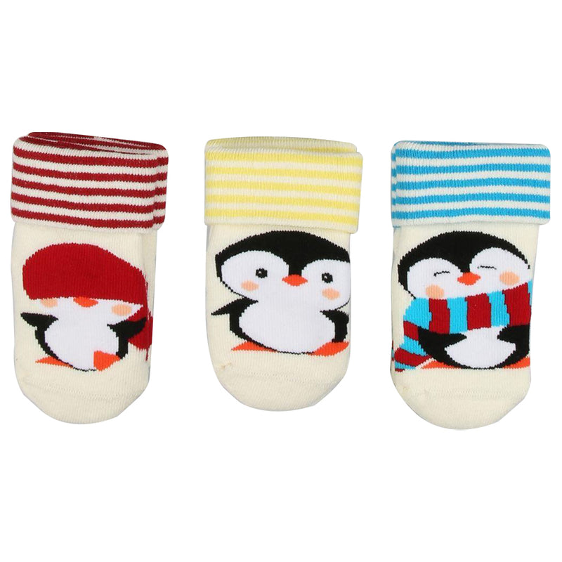 Bross Baby Socks Non-Slip Lovely Penguins, Pack of 3
