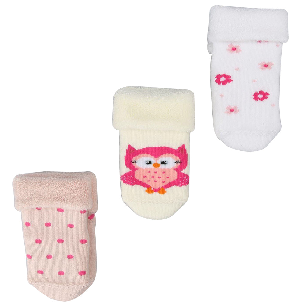Bross Baby Socks Non-Slip Owl Assorted, Pack of 3