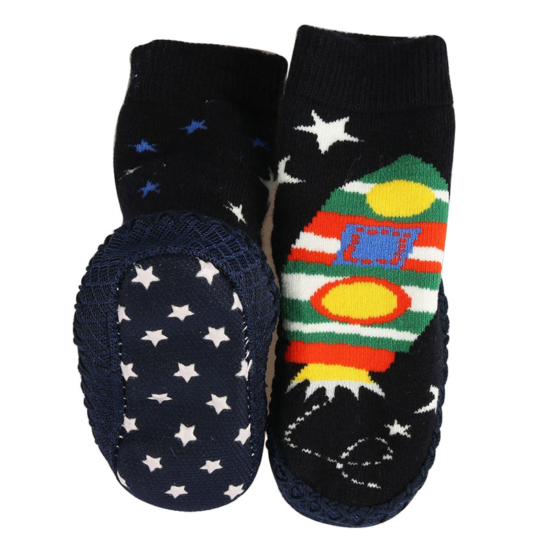 Bross Socks Non-Slip Shoes Rocketship, 1 Pair