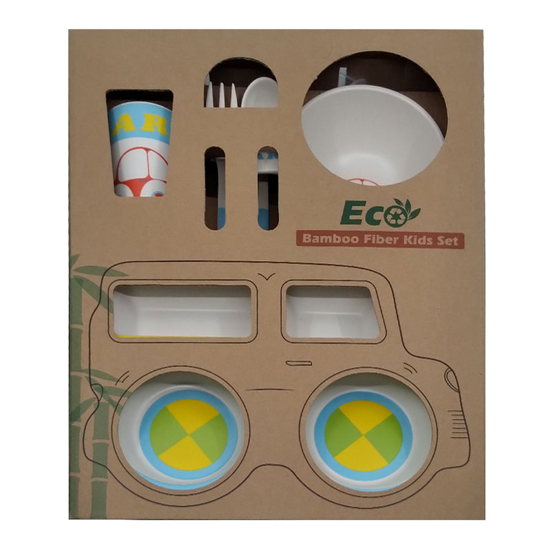 Bamboo Fiber Tableware 5 Pieces Set - Yellow