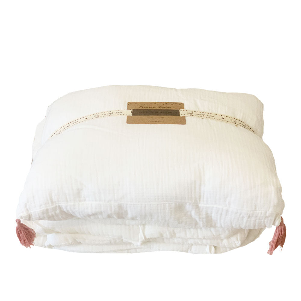 CIGIT COT BUMPER + PILLOW SET, OFF WHITE
