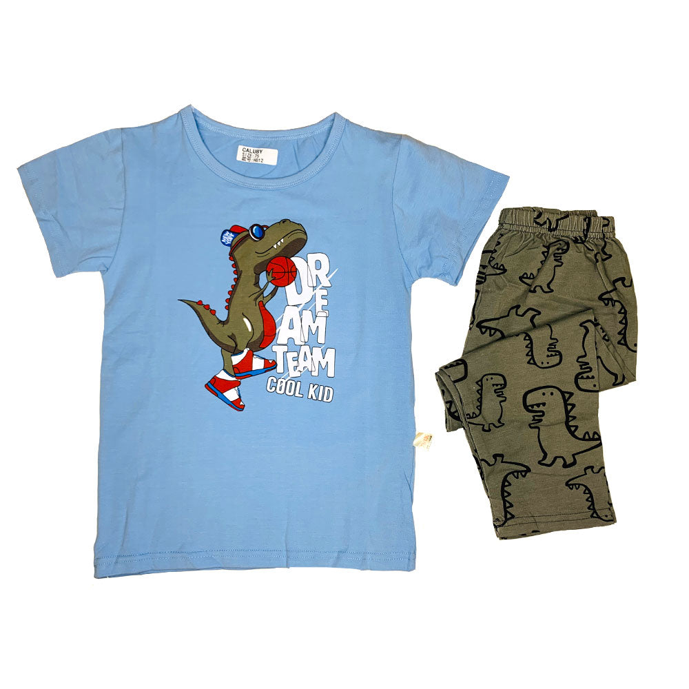 Caluby Short Sleeved Dinosaur, blue