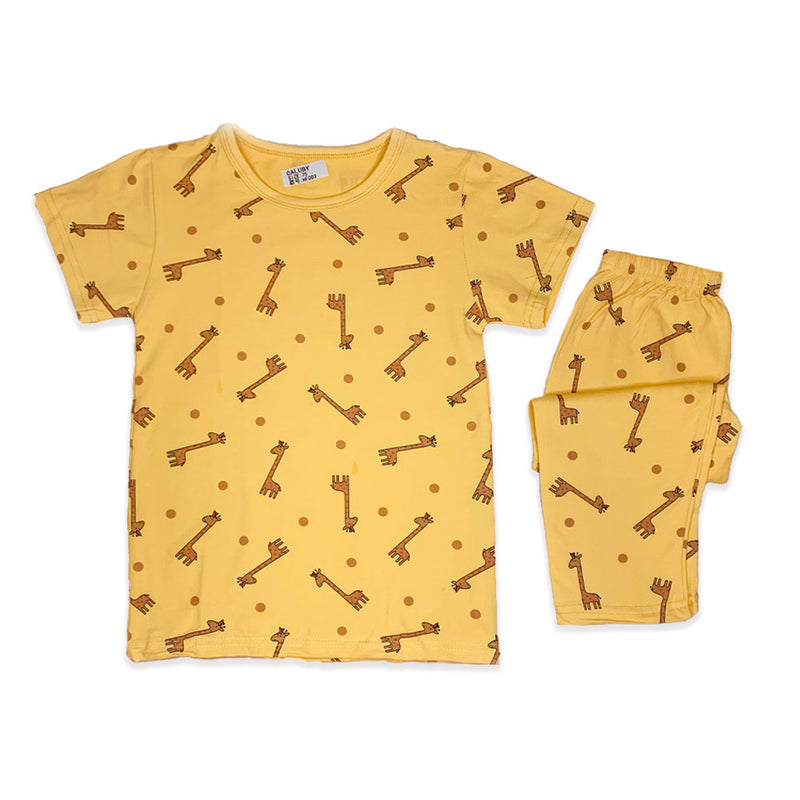 Caluby shot sleeved pyjama giraffe yellow