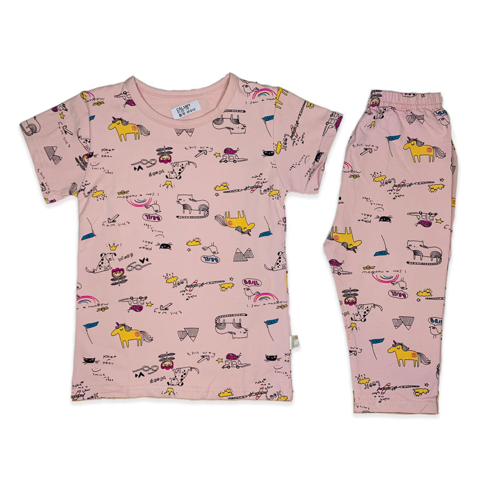 Caluby Short sleeved Pink unicorn
