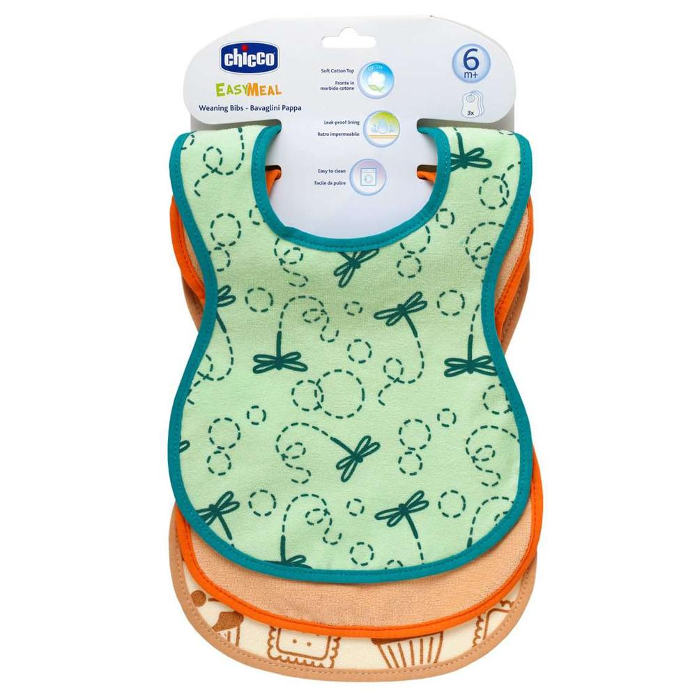 Chicco Easy Meal Weaning Bibs 3 Pieces, 6 Months+