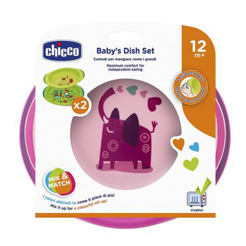 Chicco Dish Set Pink, 12 months+
