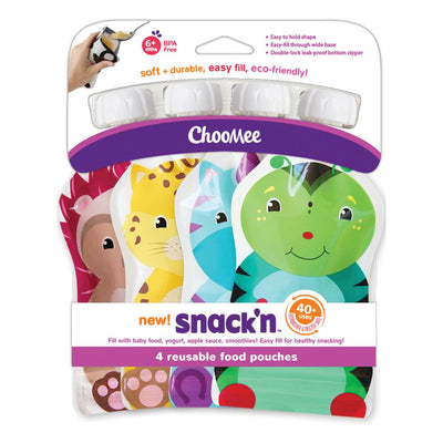 ChooMee Snack'n Reusable Food Pouch, Pack of 4