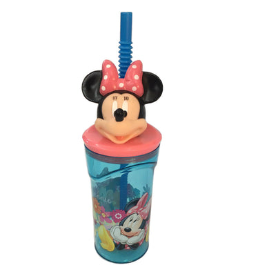 Disney Minnie Mouse '3D Head' Bottle With Straw - 360 ml