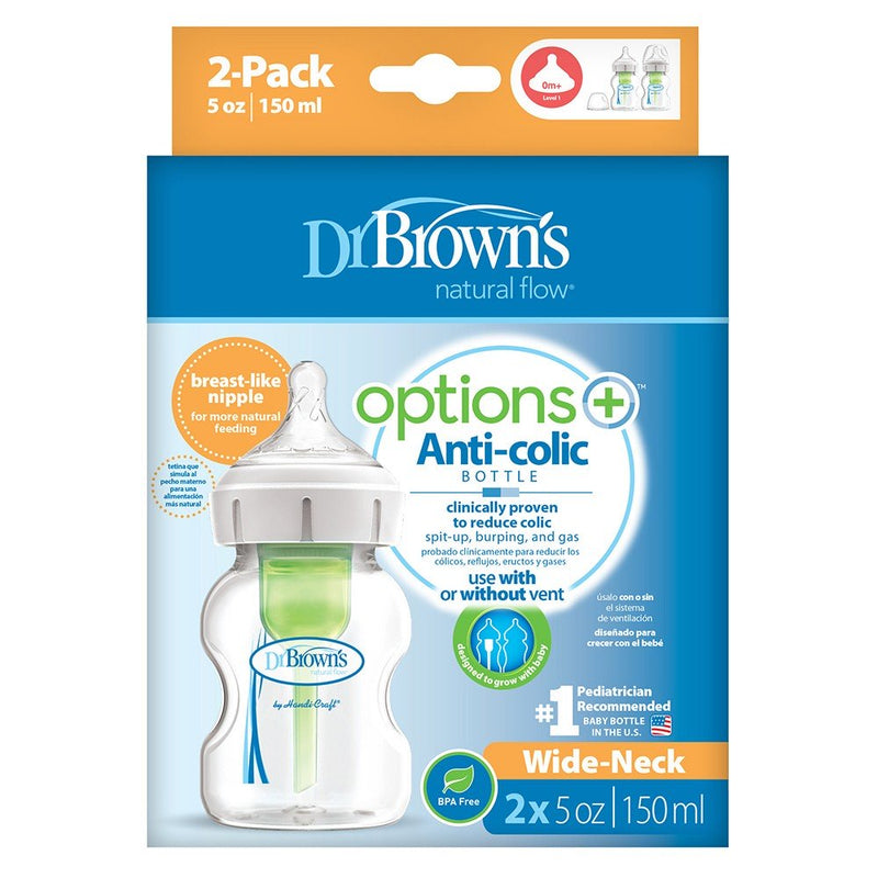 Dr Brown's 5 oz/150 ml PP Wide-Neck Options+ Bottle, 2-Pack
