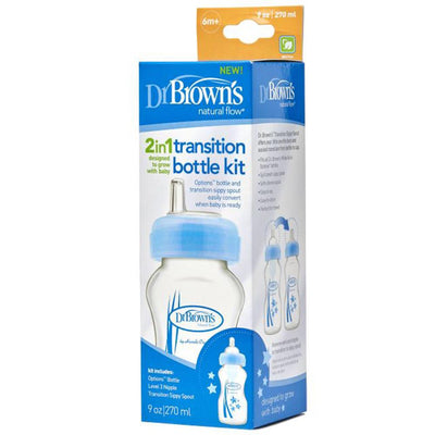 "Dr Brown's Wide Neck ""Options"" Transition Bottle with Sippy Spout -PP Blue, 9 oz / 270 ml, Pack of 1"