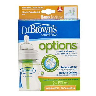 "Dr Brown's Wide Neck ""Options"" Baby Bottle - PP, 5 oz / 150 Ml, Pack of 2"