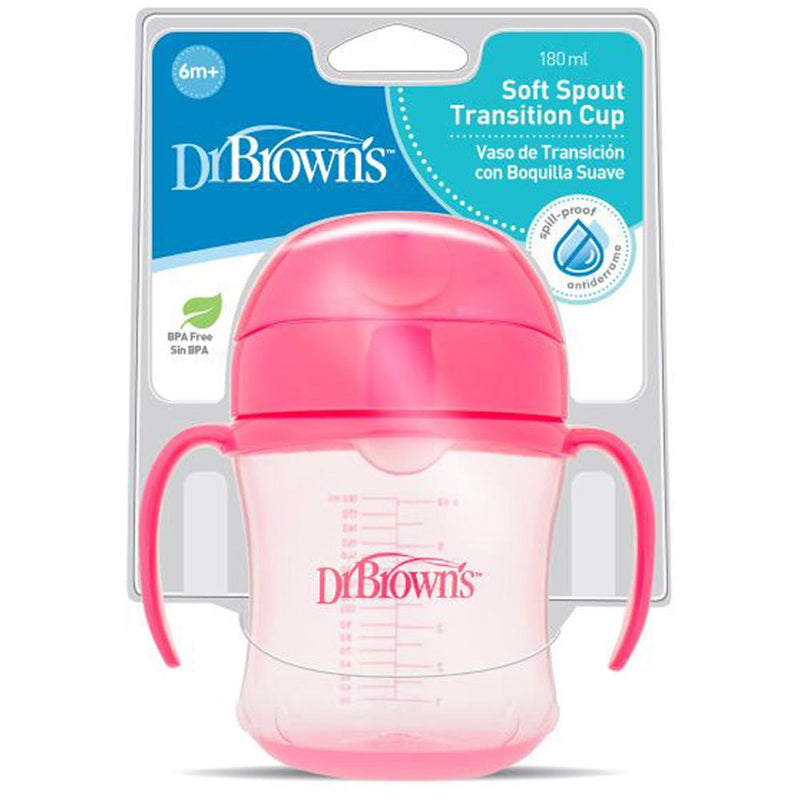 Dr Brown's Soft Spout Transition Cup with Handles Pink 6 Months+, 6 oz / 180 ml