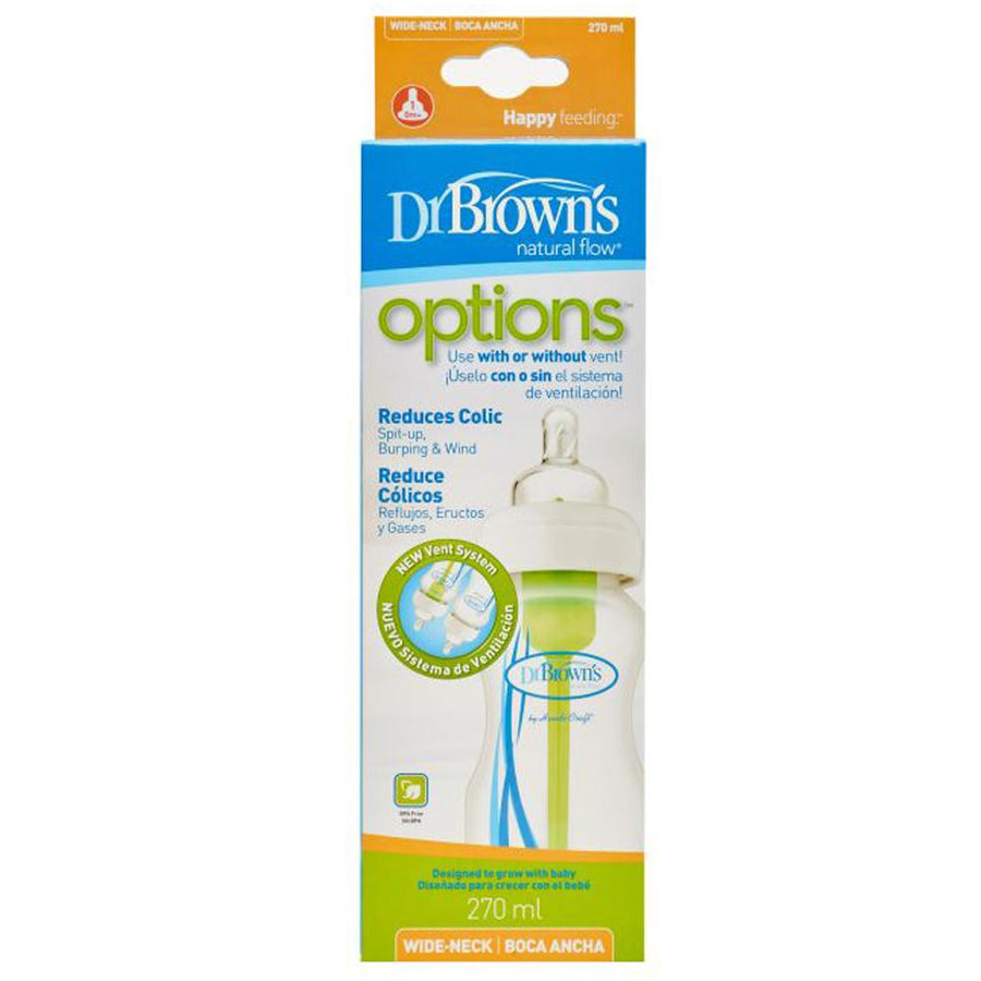 "Dr Brown Wide Neck ""Options"" Baby Bottle - PP, 9 oz / 270 ml, Pack of 1"