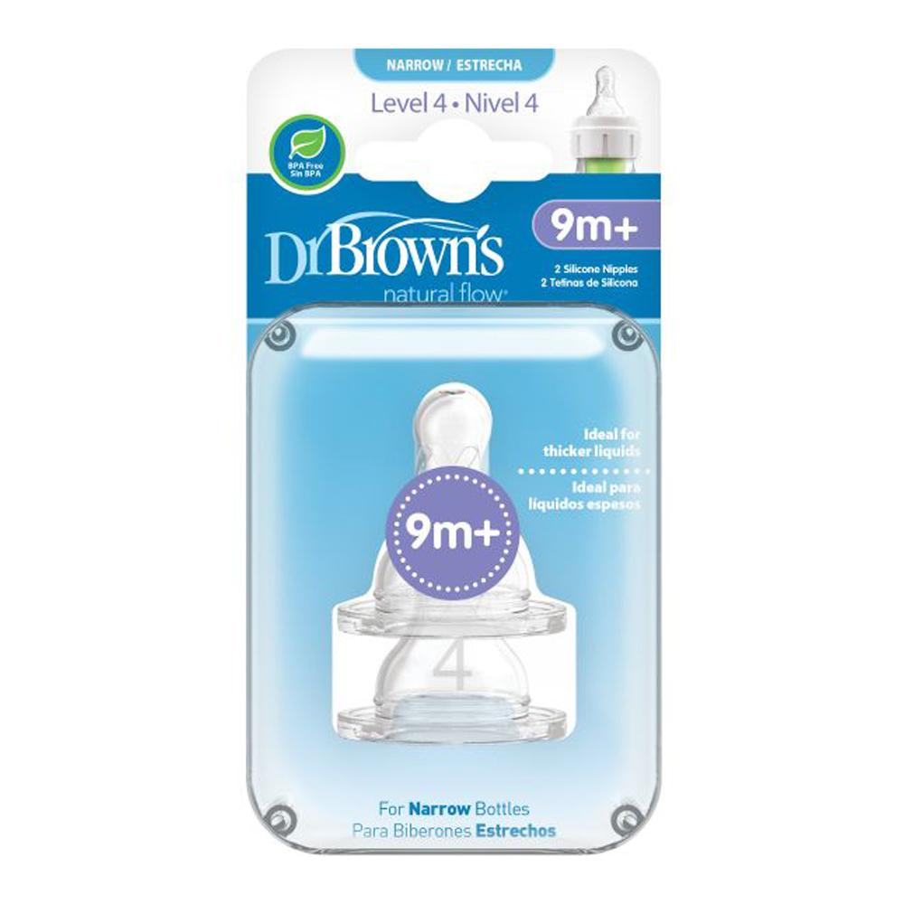 "Dr Brown's Narrow Neck ""Options"" Nipple Level 4 Silicone, Pack of 2"