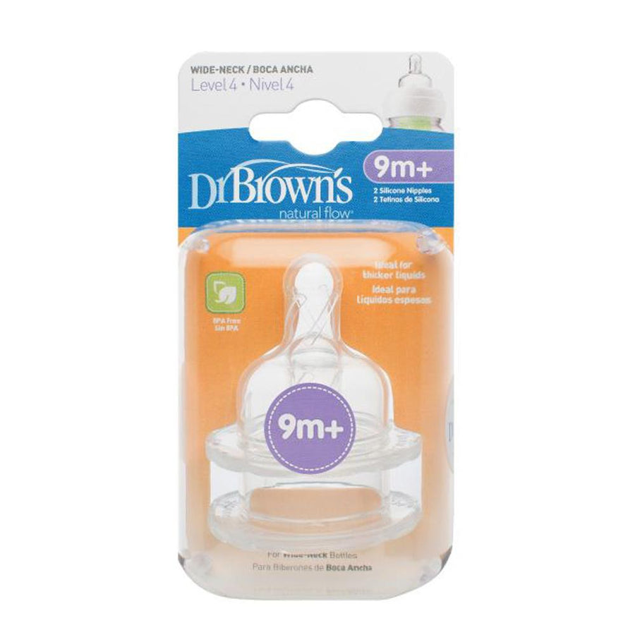 "Dr Brown Wide Neck ""Options"" Nipple Level 4 Silicone, Pack of 2"