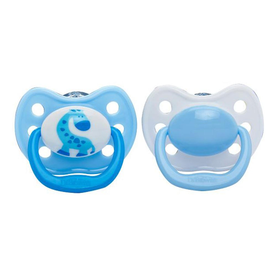 Dr Brown Ortho CLASSIC SHIELD Pacifier Stage 2, 6-12 Months - Blue, Pack of 2