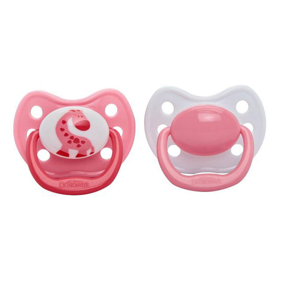 Dr Brown Ortho CLASSIC SHIELD Pacifier Stage 2, 6-12 Months - Pink, Pack of 2