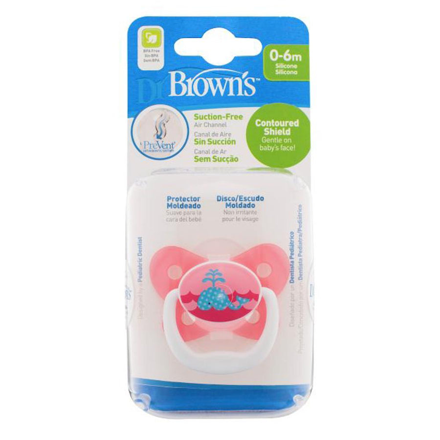 Dr Brown PreVent Butterfly Pacifier Stage 1 Pink, 0-6 Months, Pack of 1