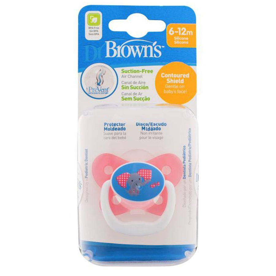 Dr Brown PreVent Butterfly Pacifier Stage 2 Pink, 6-12 Months, Pack of 1