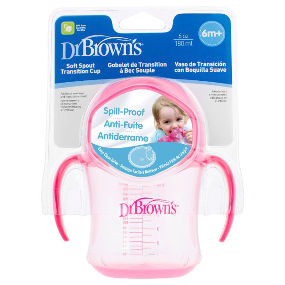 Dr Brown's 6 oz Soft-Spout Transition Cup - Pink (Stage 1: 6m+)