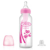 "Dr Brown's 8 oz / 250 ml PP Narrow-Neck ""Options"" Transition Bottle with Sippy Spout - Pink, 1-Pack"