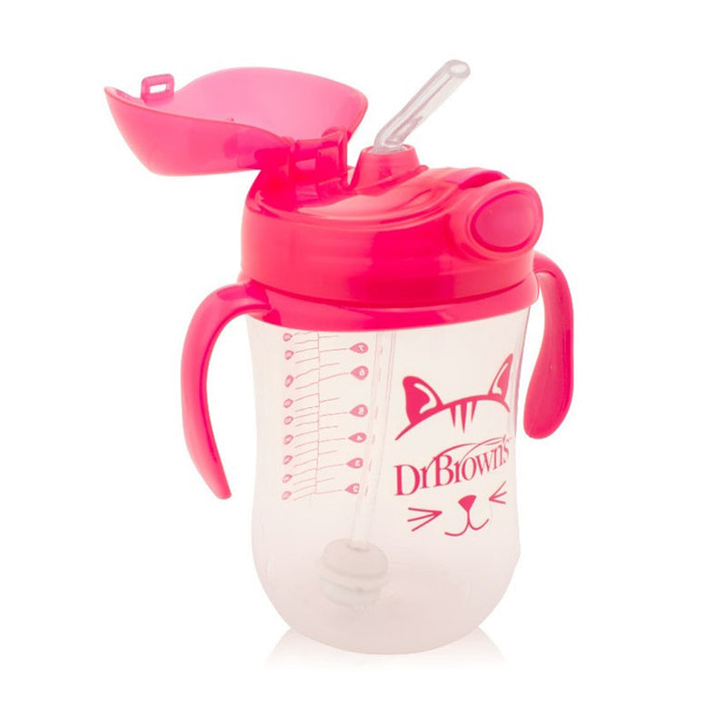Dr Brown's 9 oz / 270 ml Baby's First Straw Cup with Handles - Pink (6m+)