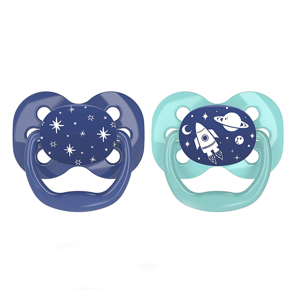 Dr Brown's Advantage Pacifier - Stage 1, Blue Space, 2-Pack