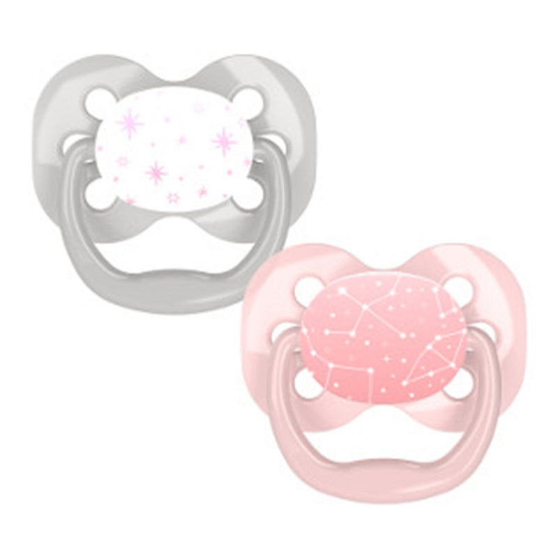 Dr Brown's Advantage Pacifier - Stage 1, Pink Stars, 2-Pack