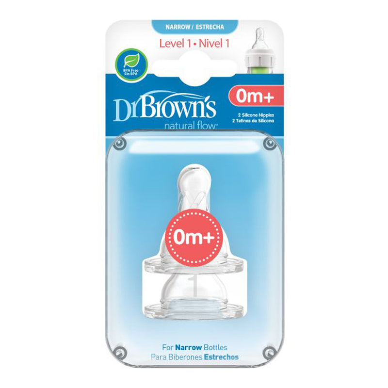 "Dr Brown's Level-1 Silicone Narrow-Neck ""Options"" Nipple, 2-Pack"