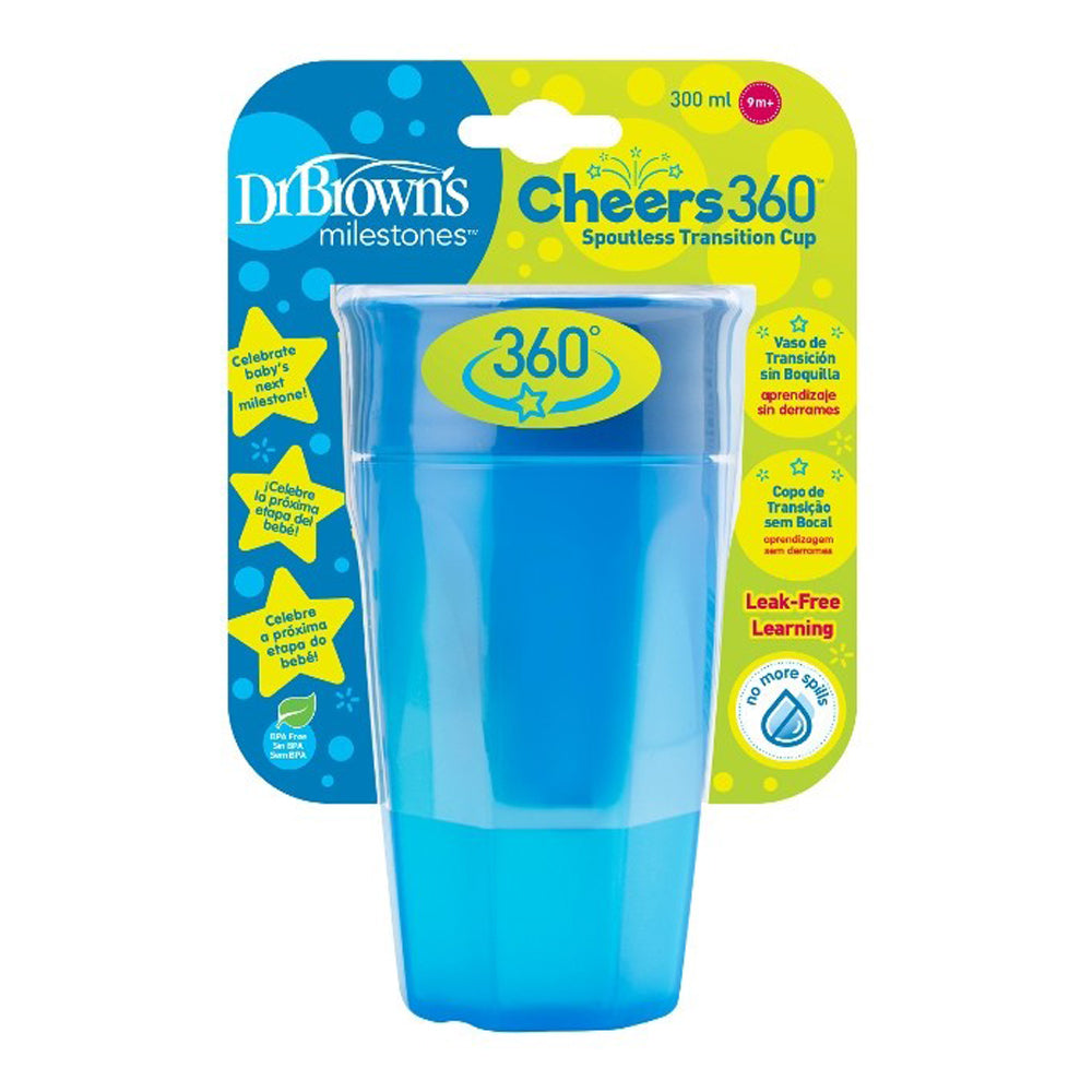 Dr Brown's Cheers 360 Cup, 10 oz/300 ml, Blue, 1-Pack