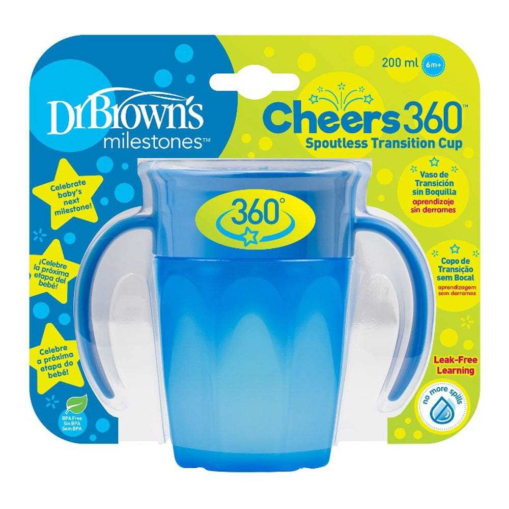 Dr Brown's Cheers 360 Cup with Handles 200 ml, Blue, 1-Pack