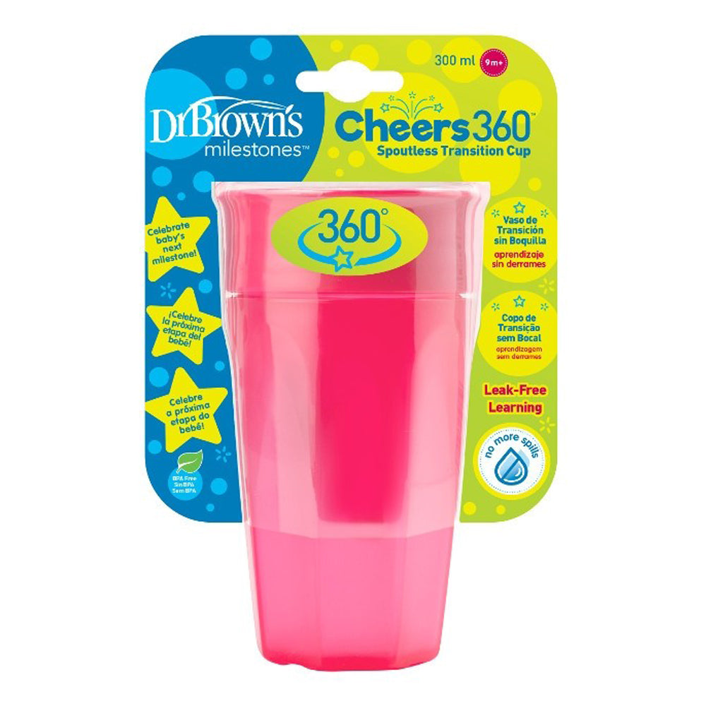 Dr Brown's Cheers 360 Cup, 10 oz/300 ml, Pink, 1-Pack