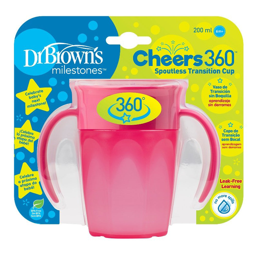Dr Brown's Cheers 360 Cup with Handles 200 ml, Pink, 1-Pack
